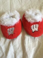Wisconsin Badgers Med M  Infant Baby Booties Shoes Slippers Red W
