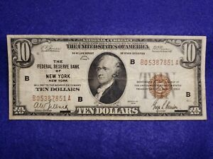 1929 $10 Dollar National Currency The Federal Reserve of New York, NY - VG