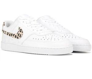 Womens Nike Court Vision Low Sneaker 9 Leopard Print White Desert Sand And Black