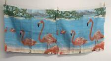 NWOT Pair Pillow Shams Standard Size Flamingo Landscape Tropical Whimsical
