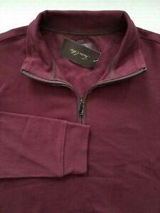 Tasso Elba Mens Large Dark Red 1/4 Zip Faux Suede Trim Long Sleeve Shirt