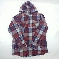 Shaun White Mens Multicolor Long Sleeve Plaid Snap Hoodie Cotton Shirt Size XL