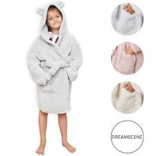Dreamscene Teddy Fleece Dressing Gown Hooded Bear Ears Kids Childrens Bathrobe