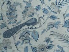 Schumacher Curtain Fabric CAMPAGNE 3.25m Bleu/Gris - Linen Birds Floral 325cm
