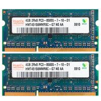 Hynix 8GB KIT 2x4GB PC3-8500S DDR3 1066 Mhz 204-PIN CL7 SoDimm Laptop Memory RAM