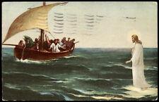 antica cartolina GESU' CAMMINA SULLE ACQUE