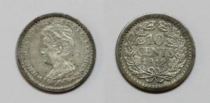 Countries Netherlands Wilhelmina III 10 Cents Silver 1912