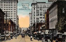 c.1910 Stores Old Cars Forsyth St. West from Ocean St. Jacksonville FL post card