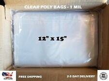 12x15 Clear Poly Bags Lay Flat Open Top End 1 Mil Ml Case Ldpe Plastic T Shirt