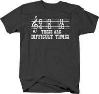 These are difficult times caps funny time signatures treble music Tshirt for Men