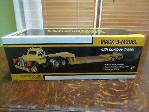 FIRST GEAR 1/25 MACK B-MODEL W/LOWBOY TRAILER - DAMAGED MUD FLAP/MISSING MANUAL