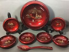 8 Pc VTG 1950's Lacquer Ware Salad Serving Bowl 6 sm.Set Japan~Deep Red~Spoon