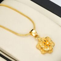 """18k Yellow Gold Filled Women's Flower Pendant Necklace 18""""Link Fashion Jewelry"""