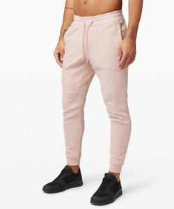 Lululemon Mens At Ease Jogger Heathered Pink Mist White Sweat Pants  XXL XL