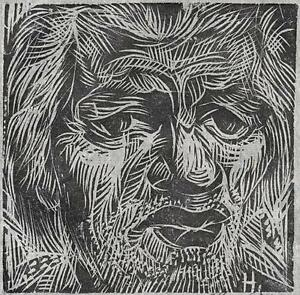 CARLOS HERMOSILLA ALVAREZ Signed Linocut OLD MAN PORTRAIT 1973