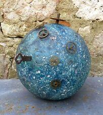TERRE COMPTE A REBOURS Sculpture céramique bleue rouages horloge