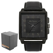Ben Sherman Gents Quadrante Nero Analogico Cinturino in pelle nera con trama Watch bs029