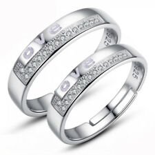 Luxury Lovers Wedding Jewelry Women Men 925 Sterling Silver Crystal Couple Ring