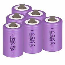 VIOLA 6pcs 4/5 SubC SUB C 1.2v 2200mAh Ni-CD batteria ricaricabile & TAB Power