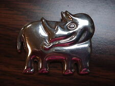 Vintage Sterling Silver Rhinoceros Brooch Pin
