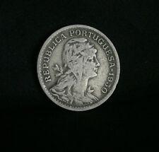 1930 Portugal 50 Centavos Copper Nickel World Coin KM577 Liberty Head Shield