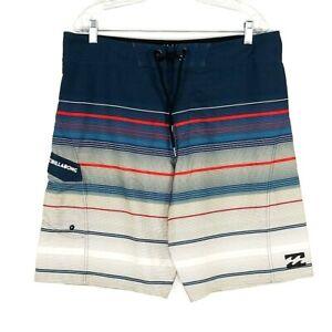 Billabong Platinum X  Board Shorts Men's 36 Size All Day Green/Gray/Red Stripe
