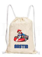 Personalised Boys Mario Kart Drawstring Canvas Gym/ PE Bag