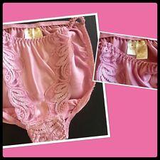 NWOT S(5) VICTORIA'S SECRET 100% SILK Panties GOLD Tag VINTAGE DUSTY ROSE lace