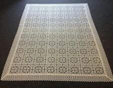 "72x144"" Embroidered FULL Lace Embroidery Floral Flower Tablecloth Ivory Cream"