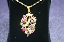 22 KT YELLOW GOLD 1.15 CTS RUBY & (12) SEED PEARL FLORAL PENDANT 1+3/4 BY 1 INCH