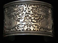 "ANTIQUE CHINESE EXPORT SILVER DRAGONS 1 11/16 ths "" Wide CUFF BRACELET"