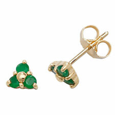 Unbranded Emerald Stud Yellow Gold Fine Earrings