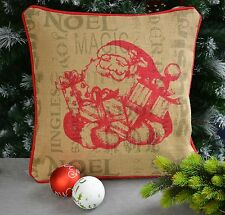 Kissenhülle Jute  Christmas Weihnachten Weihnachtsmann ca. 40/40 cm Beige/ Rot