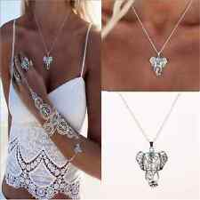 Cute Womens Fashion Retro Silver Elephant Pendant Chain Choker Charm Necklace FT