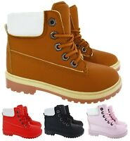 KIDS CHILDREN GRIP SOLE WINTER WARM LACE UP GIRLS ANKLE TRAINERS BOOTS SIZE 10-2