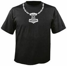 THORS HAMMER NECKLACE BLACK T SHIRT, odin asatru rune viking mjollnir chain thor