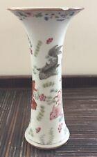 Vase Cornet Porcelaine Chinoise De Chine Famille Rose Poissons Carpes XVIIIe