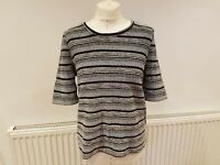 Ladies Next Metallic Stripe Black & Silver Top Size 12 Christmas Party Textured
