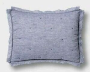 THRESHOLD Blue Linen Blend Chambray Tufted Pillow Sham ~ STANDARD- I HAVE 2 AVAI