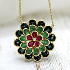 Ruby Emerald Flower Pendant Diamond Blue Topaz Necklace Solid 18kt Yellow Gold