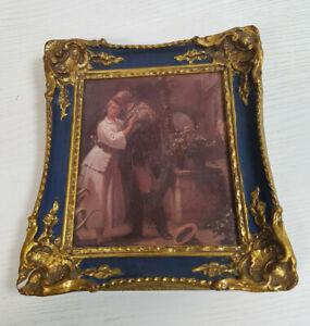 kleines altes Wandbild mit Rahmen  - Franz Carl Spitzweg, Der Abschied - 20x18cm