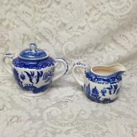 Vintage,Flair-Japan  3-pc Blue Willow Creamer and Sugar