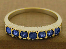 R136 Genuine 9K, 10K, 14K or 18K Solid Gold Natural Sapphire Half-Eternity Ring