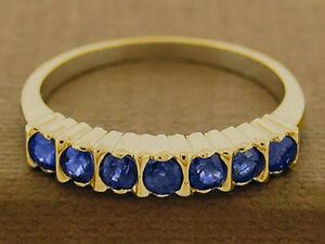 R136 Genuine 9K, 10K, 14K or 18K Solid Gold Natural Sapphire Half-Eternity Ring