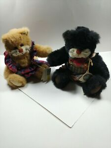 """LOT 2 GANZ COTTAGE COLLECTIBLES Jointed Stuffed Cats KATRINA & SNEAKERS 15"""" Tags"""