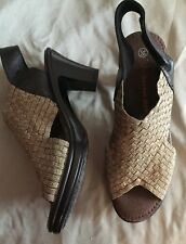 Bernie Mev Gold Elastic Woven Black Leather Slingback Sandals 38 US 7.5