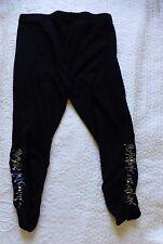 LADIES black & sequin leggings size 10 dance 3/4 leg new unused by leggings.com