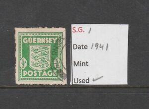 GB GUERNSEY 1944 1/2 d. Arms of Guernsey VFU dull green