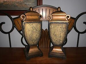 Pair of Mosaic Urns Brown and Gold