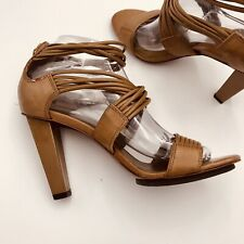 Diane Von Furstenberg 8 Medium High Heel Brown Gladiator Sandal Zipper Back EUC